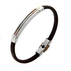 Bracelet Cuir Tressé avec Plaque Acier