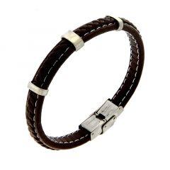 Bracelet Cuir Tressé et Barrettes Acier