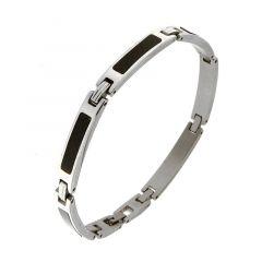 Bracelet homme acier gris et noir