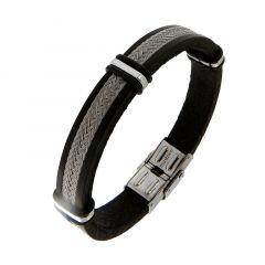 Bracelet homme cuir noir et fils d'acier tréssés