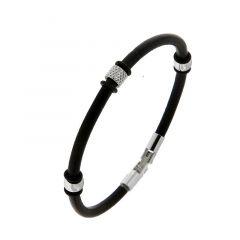 b91a795848b90 Bracelet homme cuir noir motifs en acier