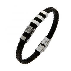 Bracelet homme cuir tréssé noir motif acier