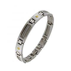 Bracelet homme en acier et plaqué or