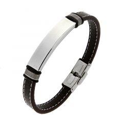 Bracelet homme en cuir marron avec plaque en acier