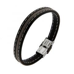 Bracelet homme en cuir noir avec bande de tissus gris