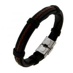 Bracelet homme en cuir noir et marron