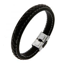 Bracelet homme en cuir noir lisse et tréssé