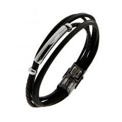 Bracelet homme en cuir noir muti rangs avec motif acier