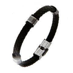 Bracelet homme en cuir noir tréssé motifs acier