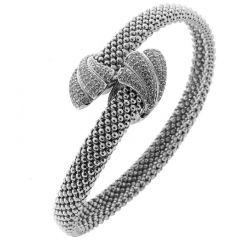 Bracelet Jonc en Argent 925 Rhodié  et Oxyde de zirconium