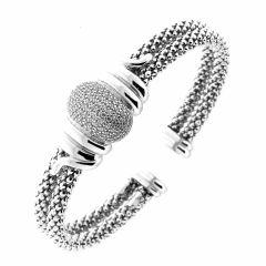 Bracelet Jonc en Argent rhodié avec oxydes