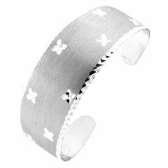 Bracelet Jonc en Argent rhodié Motifs diamantés