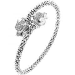 Bracelet Tètes de Panthère en Argent 925 Rhodié et Oxyde de zirconium