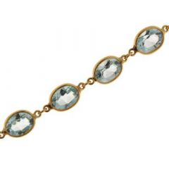 Bracelet Topaze bleue Traitée 8x6mm Or jaune 375