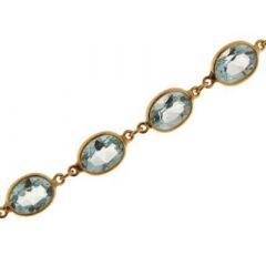 Bracelet Topaze bleue Traitée 8x6mm Or jaune 375