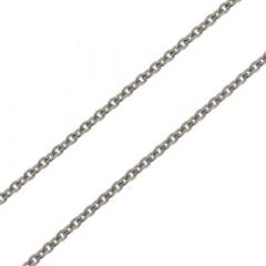 Chaine Or Blanc 750 maille forçat ronde 1.5mm - 40cm