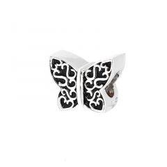 Charm Papillon en Argent 925 et Email noir