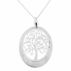 Collier argent rhodié arbre de vie ovale martelé