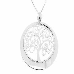 Collier argent rhodié arbre de vie ovale