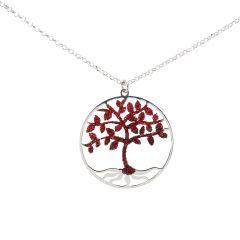 a9e0603062bd Collier argent rhodié arbre de vie rouge