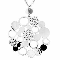 26ce21e2fc38 Collier argent rhodié avec motifs rond stylisés
