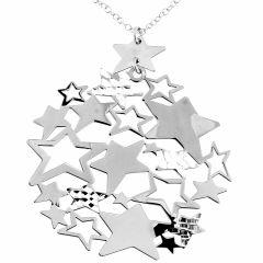 Collier argent rhodié avec motifs stylisés étoiles