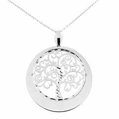 177a28cbcc2aa Collier argent rhodié motif arbre de vie rond