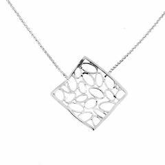 a1e47b8c1f90 Collier argent rhodié motif losange ajouré