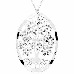 Collier en argent rhodié avec motif arbre de vie ovale