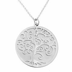 Collier en argent rhodié avec motif arbre de vie