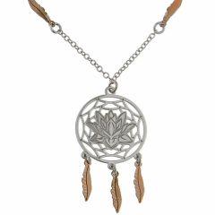 e7ef1335b6b4 Collier en argent rhodié avec motif attrape-rêves et fleur ...