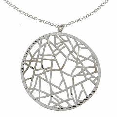 743d065c8da0 Collier en argent rhodié avec motif rond ajouré façon mosaïque