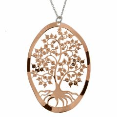 Collier en argent rhodié avec motif rosé arbre de vie ovale