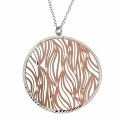 25651b8c531d Collier en argent rhodié avec motif rosé rond ajouré de vagues