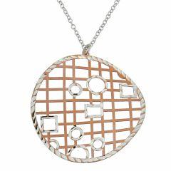 Collier en argent rhodié motifs cercle rosé ajouré de carrés et de ronds