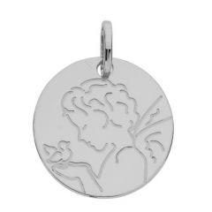 Médaille Ange et oiseau en Or Blanc 375