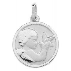 Médaille Ange et Oiseau en Or Blanc 750
