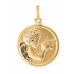 Médaille Ange et Oiseau en Or Jaune 750 (16mm)