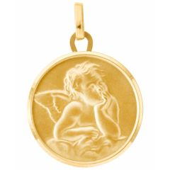Médaille baptême ange en Or jaune 750 (18mm)