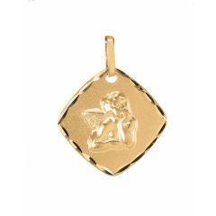 Médaille Carrée Ange en Or Jaune 750