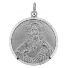 Medaille Christ Argent Rhodié 28mm