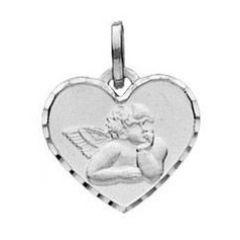 Médaille Coeur Or Blanc et Ange