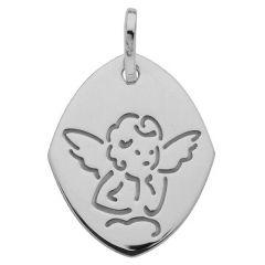 Médaille Moderne Ange Or Blanc 750