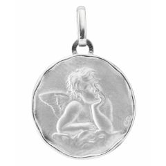 Médaille Or Blanc Ange (17mm)