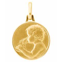 Médaille Or Jaune 750 Enfant à la rose 16mm