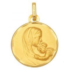 Médaille Or Jaune Vierge et enfant (15mm)