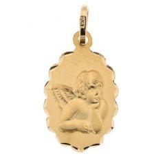 Médaille Ovale Ciselé Ange en Or Jaune