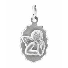 Médaille Ovale en Or Blanc motif Ange (15x11mm)