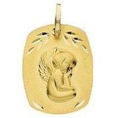 Médaille rectangulaire Ange en Or Jaune 750