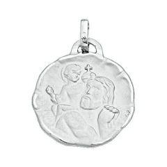 Médaille Saint Christophe en Or Blanc 750 (17mm)